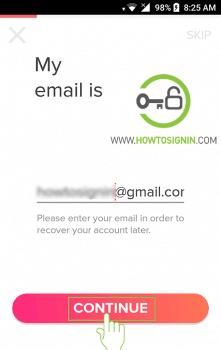 enter email for tinder sign up