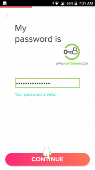 tinder sign up password