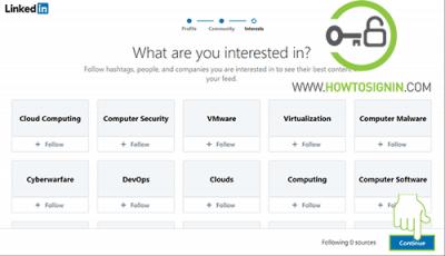 field of interest linkedin signup