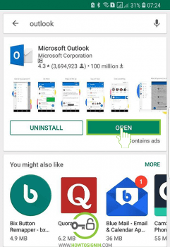 open hotmail mobile app on android