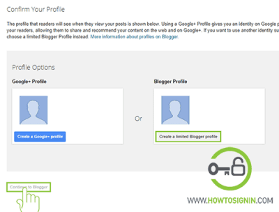 choose profile for blogger account