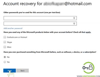 formulario de restablecimiento de contraseña de hotmail