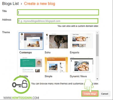 create new blog in blogger.com