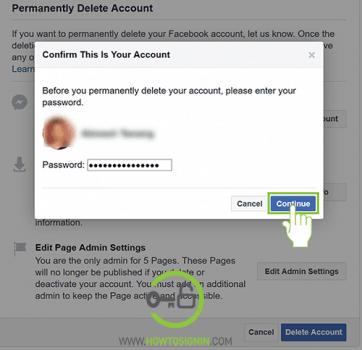 enter facebook password to delete facebook account