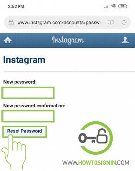 Instagram password reset