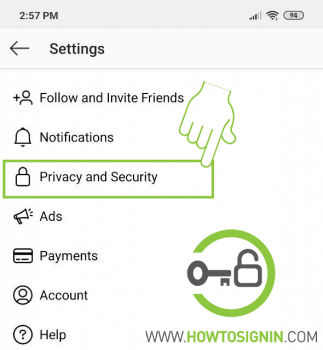 Instagram Privacy and security settings