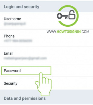 twitter password setting