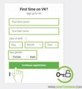 VK Signup box