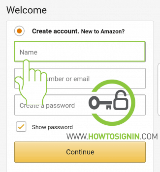Amazon mobile signup to create new account