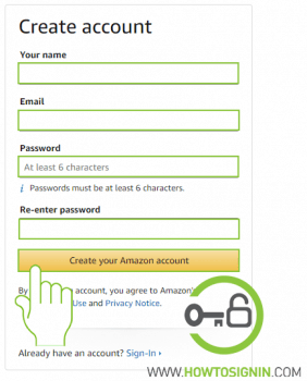 Amazon signup form to create new account
