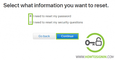 Apple password reset option