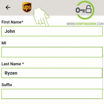 UPS enter information for UPS signup