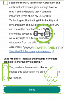UPS signup user agreement