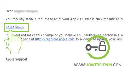 Apple id reset email
