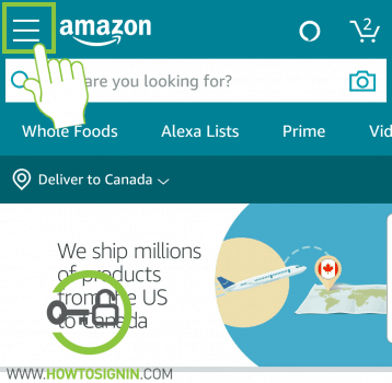 Amazon mobile menu for sign out
