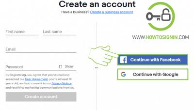 Ebay signup using social media